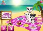 Анжела с котятами на пикнике