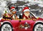 Санта Клаус гоняет на машине