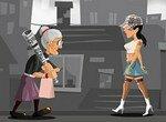 Бешеная бабушка гуляет по городу
