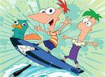 Раскраска: Финис и Ферб — серфингисты