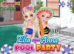 Эльза и Анна готовят вечеринку у бассейна