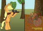 Эпплджек расстреливает яблоки