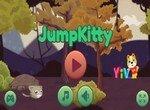Котик прыгает по лесу