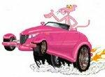 Пазл: Розовая пантера на розовой машине