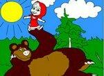 Раскраска: Маша и Медведь на полянке