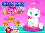 Грязная кошка принимает душ