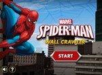 Человек паук взбирается по стене небоскреба