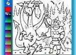Раскраска Три богатыря: Добрыня и Змей Горыныч