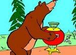 Раскраска: Медведь угощает Машу чаем