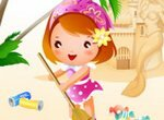 Девочка убирает пляж