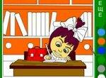 Раскраска: Маша делает уроки