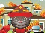Кот Том тушит большой пожар