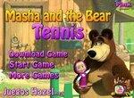 Маша и Медведь играют в настольный теннис