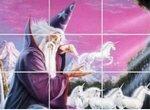 Пазл-пятнашки с волшебником и единорогами
