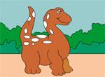 Раскраска: Динозаврик держи прогулке
