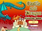 Раскраска: Дракон нападает на замок