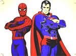 Разукрась Спайдермена и Супермена